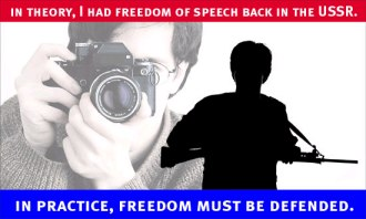 In theory, I had freedom of speech back in the USSR.  In practice, freedom must be defended. 'Image of a photographer behind a civilian holding a rifle.'