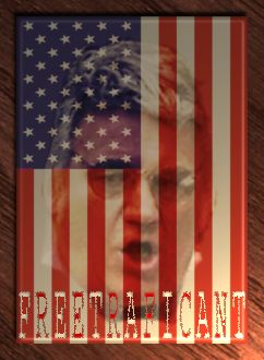 FreeTraficant2 - James Traficant's head on an American Flag background with the words 'Free Traficant' across the 13 stripes of the flag.